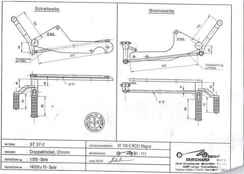 Черетеж выноса подножек VF750C V45 '87 '88