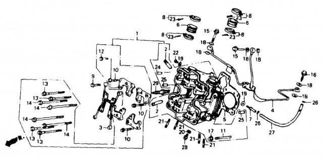 VF750C V45 1988   CYLINDER HEAD (FR.) \ Голова передняя