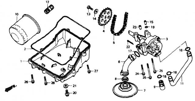 VF750C V45 1988 | OIL PAN \ Система смазки