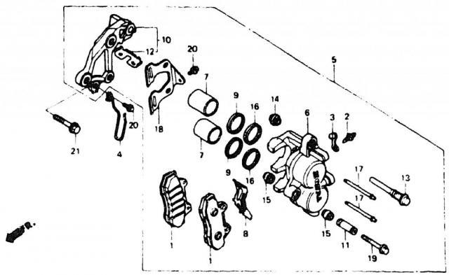 VF750C V45 1988   FRONT BRAKE CALIPER \ Суппорт