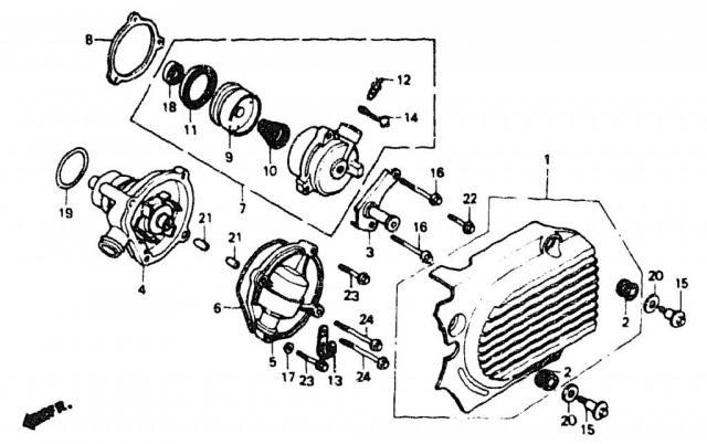 VF750C V45 1988 | LEFT CRANKCASE COVER \ крышка, сам РЦС и Помпа